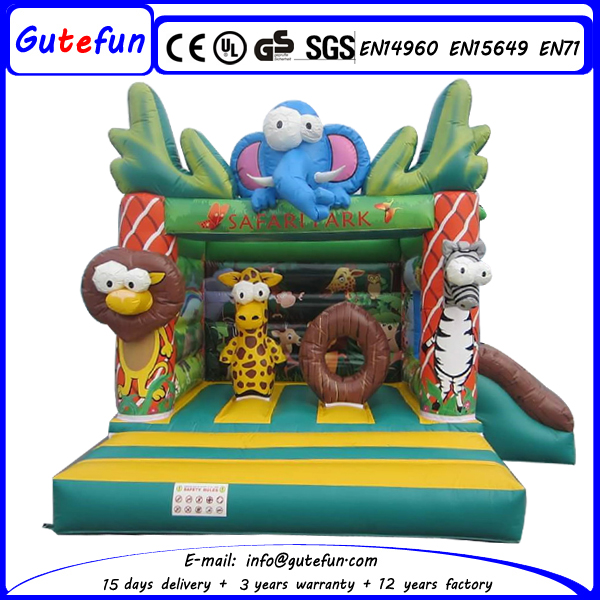Lovely animal kingdom kids inflatable bouncy castle for jumping