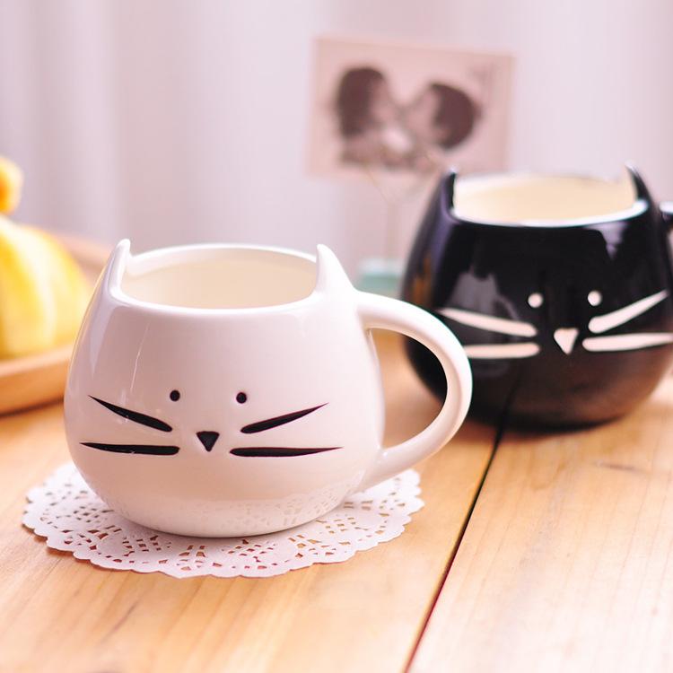 Porcelana fina lindo gato de dibujos animados en forma de taza de caf dise o cer mica - Tazas de cafe de diseno ...