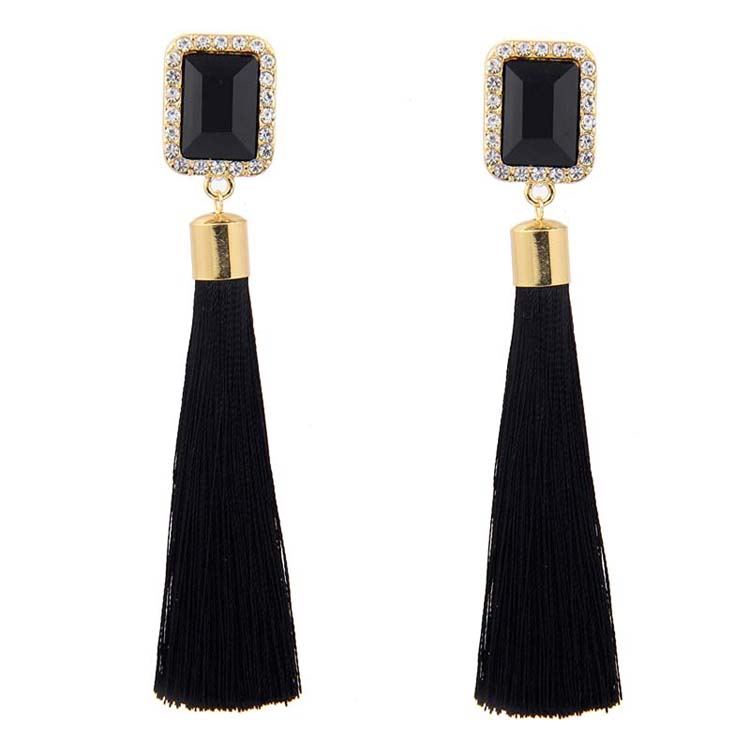 Wholesale Women Bohemia Long Dangle Tassels Earrings Luxury Big Square Crystal Earrings