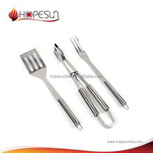 Popular high grade heat resistant 3 pcs stainless steel bbq tool sets