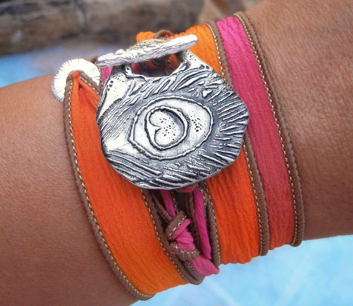 Handmade Bracelet, Sterling Silver Peacock Feather Jewelry, Peacock Feather Handmade Bracelet, Feather Jewelry, Peacock Feather Wrap Bracelet, Jewelry Gift for Women