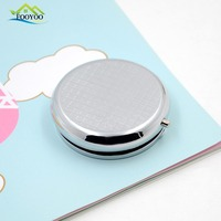 For Medicine Promotional Stainless Steel Pill Box Customize Logo Available Round Metal Pocket Size Pill Box