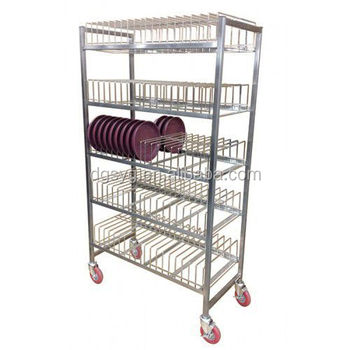 Stainless Steel Dish Storage Rack For Restaurant Movable Kitchen Commercial