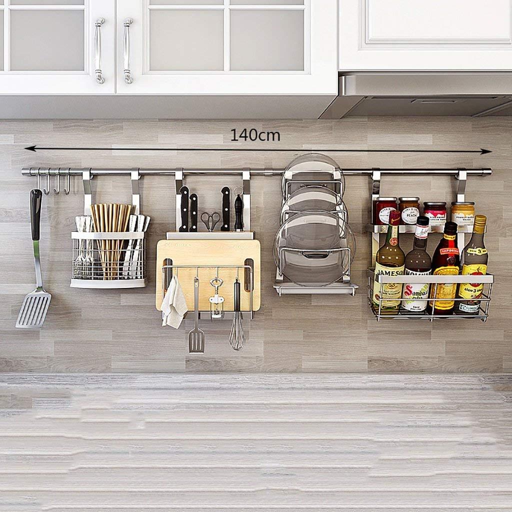 LXsnail 201 Stainless Steel Kitchen Racks Wall Wallings Seasonings Storage Shelves Kitchen Supplies Pendant Racks (140cm)
