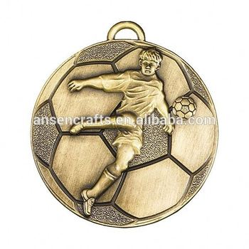 2015 new design of custom football antique gold plating medals for award