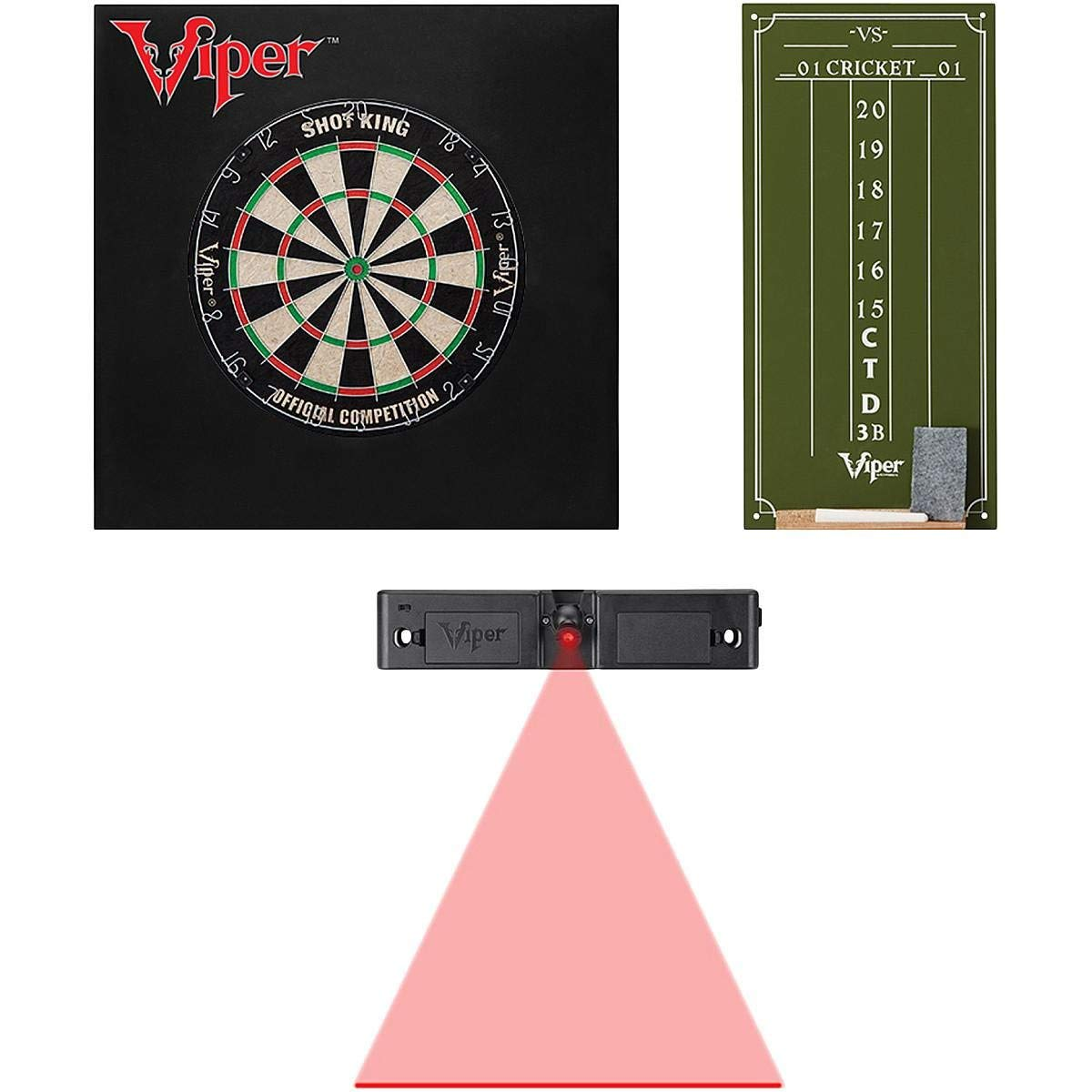 Viper SHOT KING SISAL DARTBOARD, CRICKET SCOREBOARD, DEFENDER II SQUARE BACKBOARD