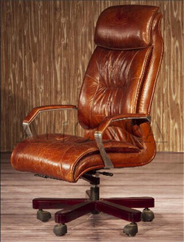 Vintage Brown Leather Wooden Office Swivel Chair