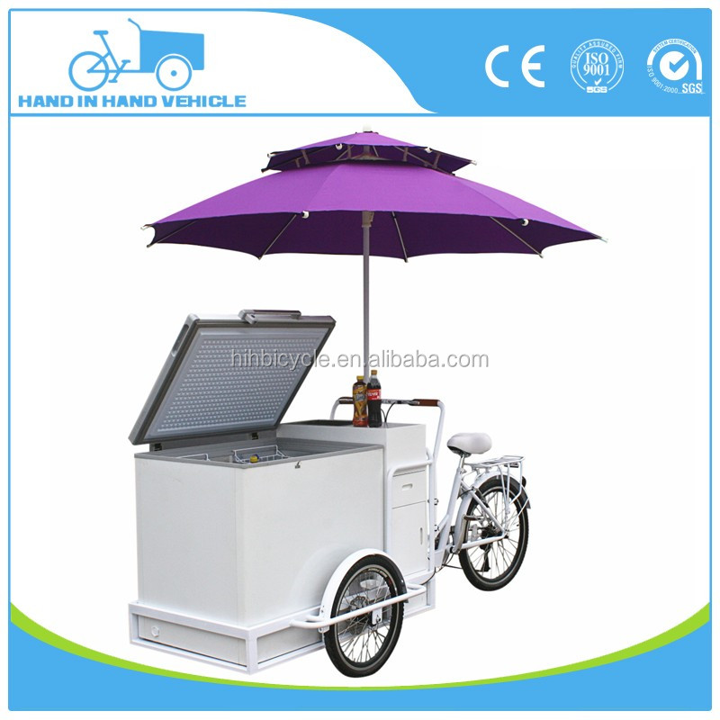 electric assist pedal tricycle popsicle ice cream cart in street