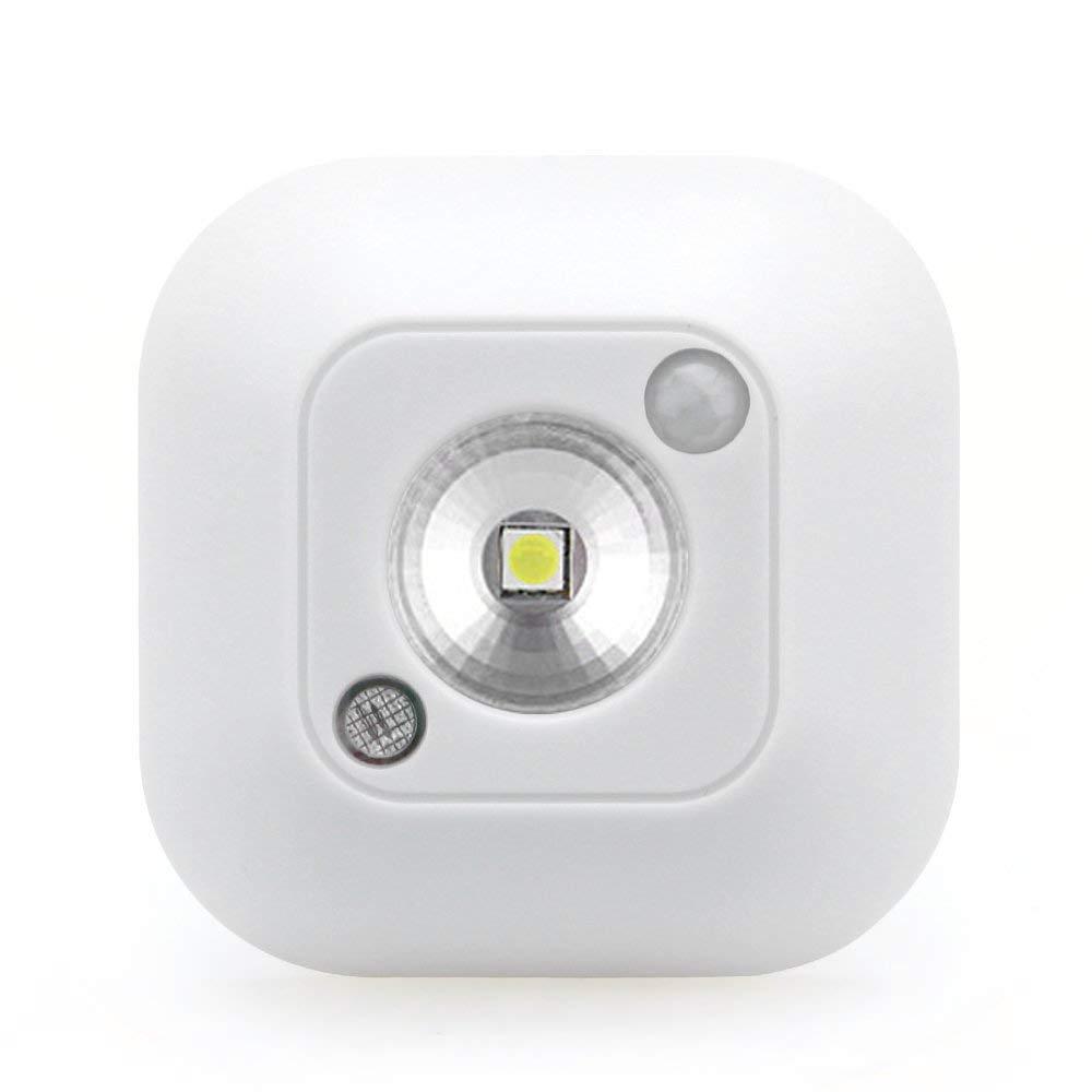 LED Motion Sensor Night Light, OurLeeme Mini Wireless 4.5V Infrared Motion Sensor Ceiling Light Battery Powered Porch Cabinet Lamp