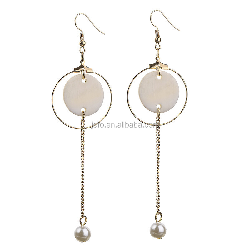 Tassel Long Chain Drop Earrings Round Circle Cat Eye Stone Pearl Charms Earrings