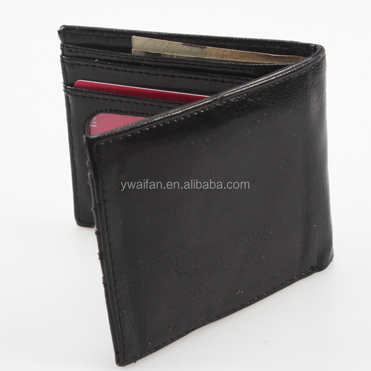 Bifold Wallet Thin Leather Credit Card Mini Wallet Black PU Bifold Mens ID Holder Wallet
