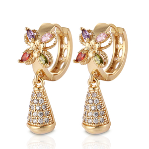 HD 2019 Fashion Designs 18K Gold Plated CZ Cubic Zirconia Hoop Drop Earrings Women Jewelry