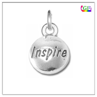 Custom metal engraved round Domed Message Inspire Pendant