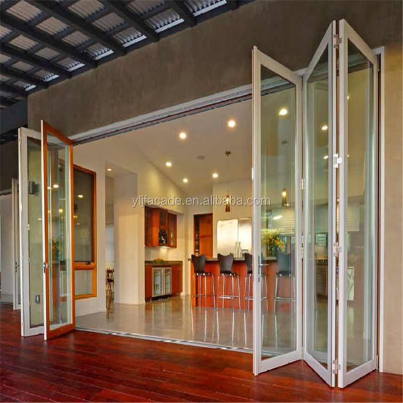 Burglarproof Safety Aluminum Glass Folding Door Patio Door