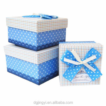 White&blue Origami Packaging Paper Gift Box With Bow