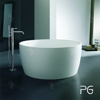 Hot saling round resin stone freestanding bath tub solid for Freestanding stone resin bathtubs