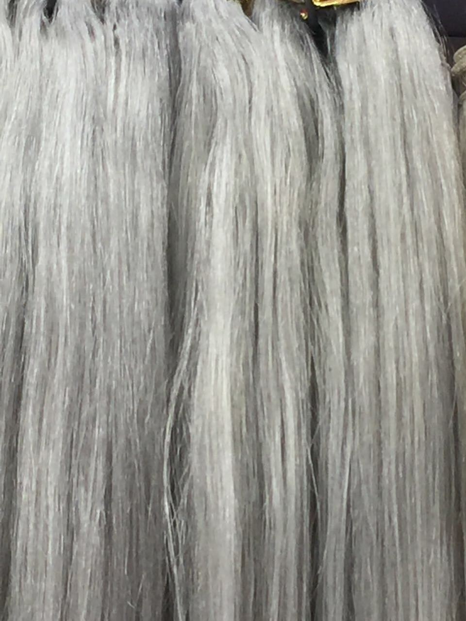 Gray Hair Extension Silky Straight Hair Weft 26inch 100grampcsgray