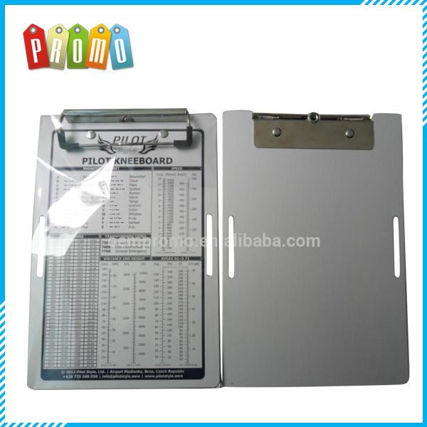 163*244*1mm Custom Printed Aluminum Clipboard With Low-profile clip