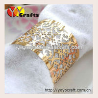 Customized Laser Cut metallic paper gold napkin rings for wedding party Decoration from YOYO crafts