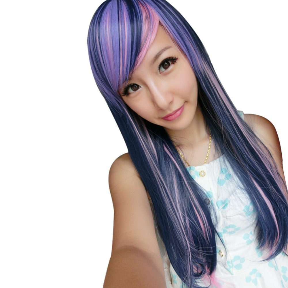 Get Quotations · Harajuku High Quality Long Curly Wavy Anime Cosplay Wig  Costume Party Purple Pink Ombre Wigs Synthetic a34b92906