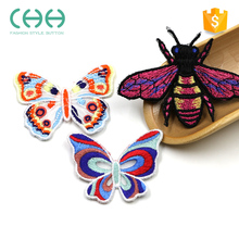 Custom cheap lovely embroidery butterfly patches for clothing