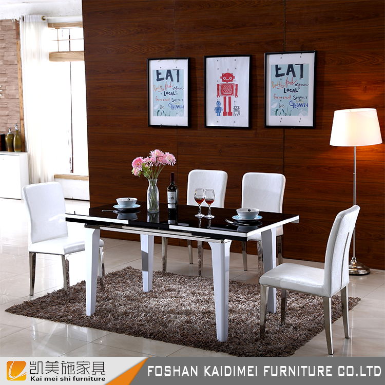 Tempered glass top base dining tables/folding dining tables set