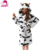 2017 Amazon Hot Sale Cute Cow Design Unisex Hooded Bathrobe Cartoon Warm Terry Robe for Women and Men Sleepwear Robe