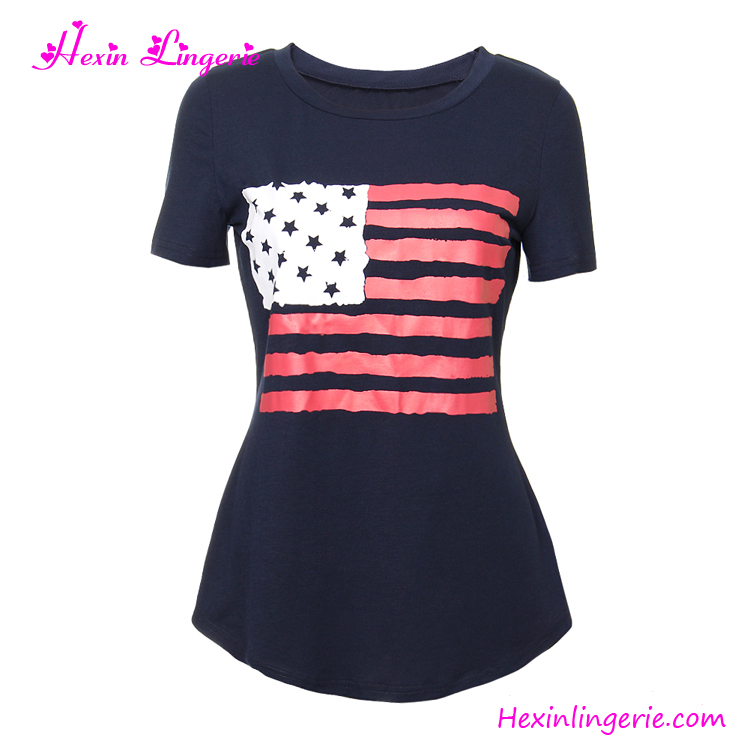 Wholesale Clothes Dark Blue National Flag Short Sleeves Women T Shirt Wholesale China