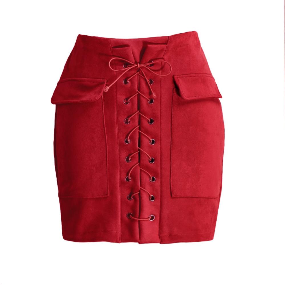 e3afd4055969c9 Fashion Vrouwen Lace Up Suède Rok Hoge Taille Vintage Pocket Preppy Bodycon  Korte Kokerrok