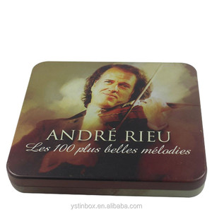 Square embossed metal DVD/CD tin box with logo pinting lid
