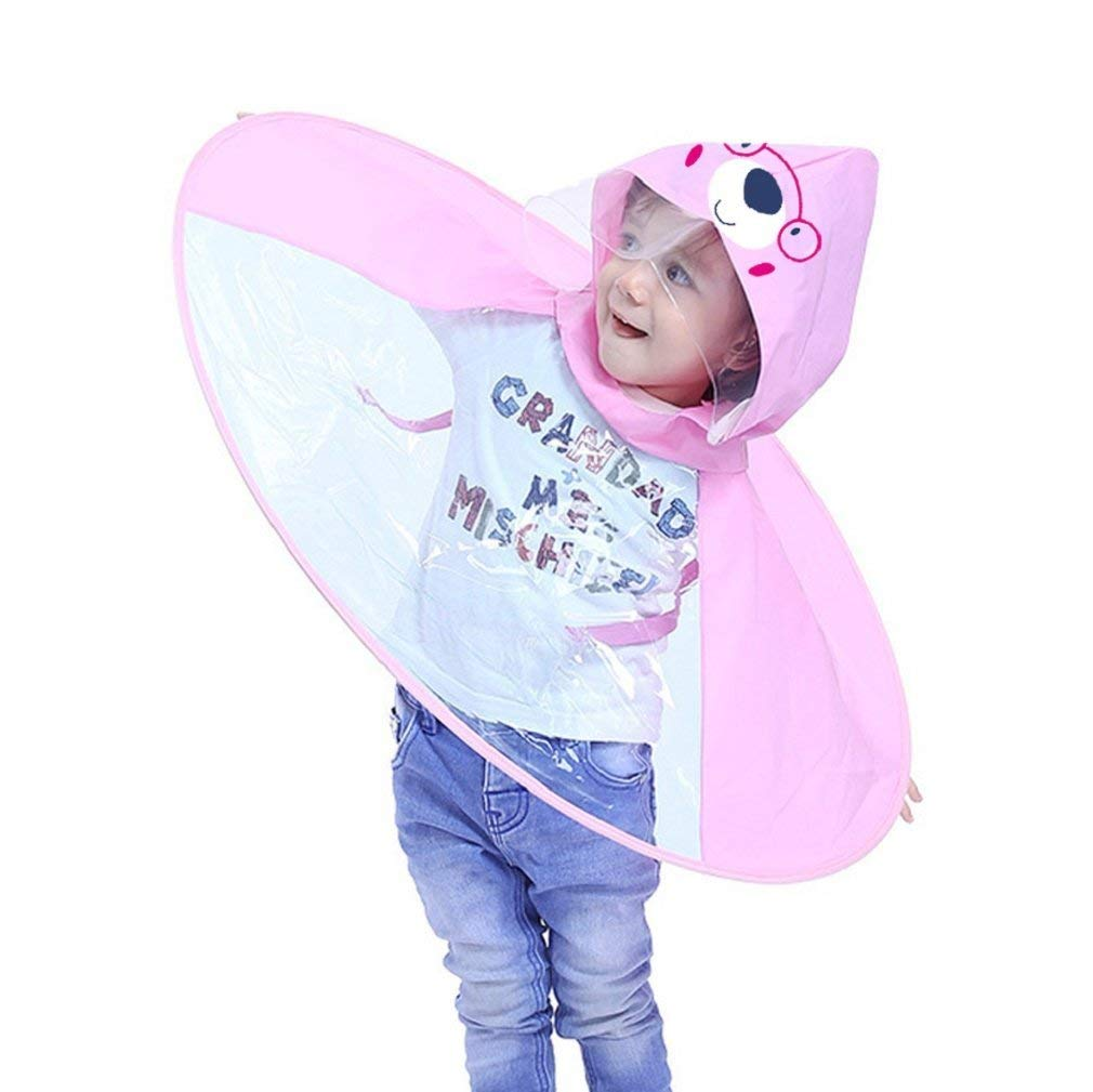 Get Quotations · Cute Rain Coat UFO Children Umbrella Hat Magical Hands  Free Raincoat bd9890165ee1