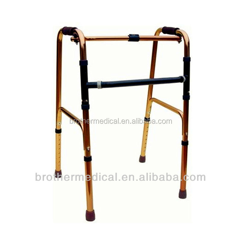 BME811 Aluminum folding adult standing walker with 2 button