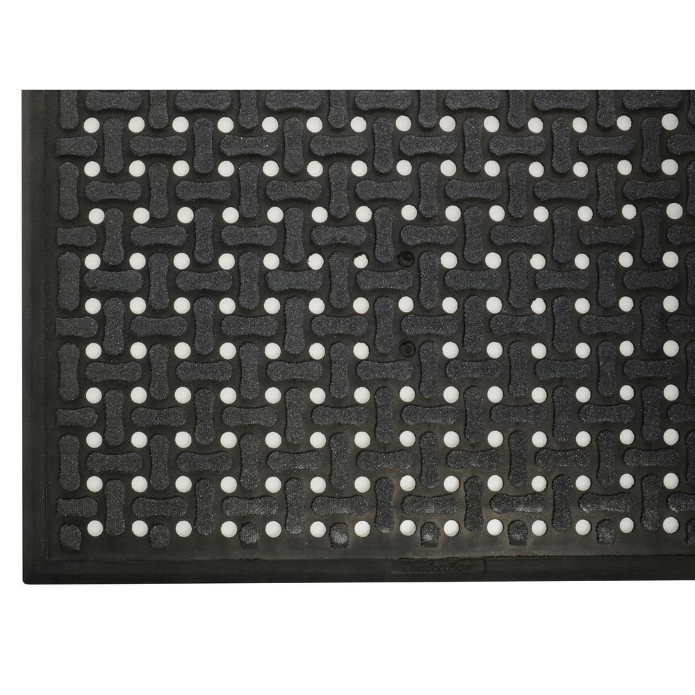 Andersen Black Nitrile Comfort Flow Anti-Fatigue Drainage Mat With A Grit Surface - 3'L x 2'W x 7/16 H