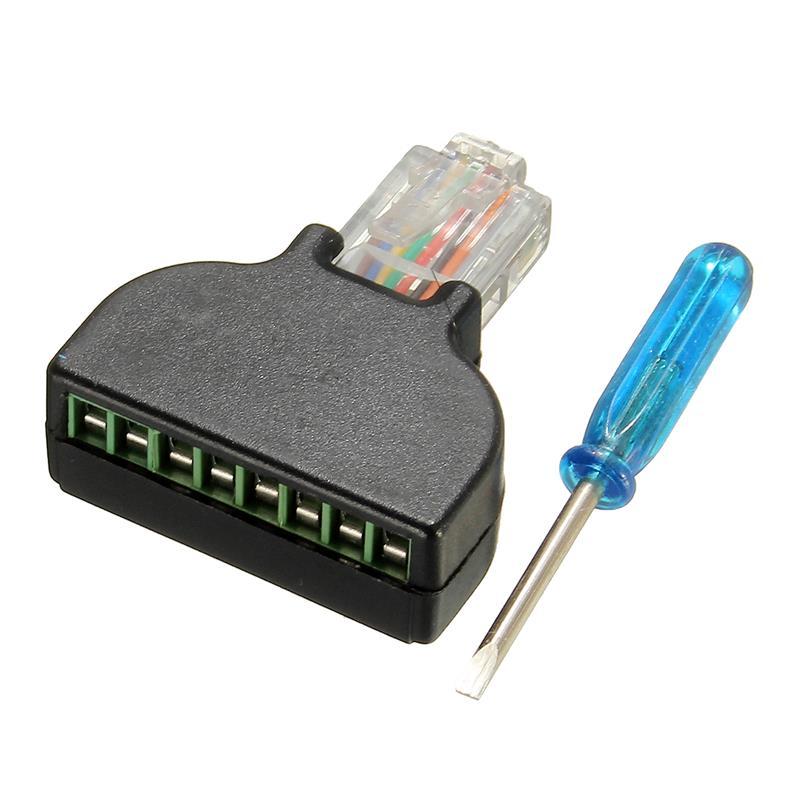 RJ45 Plug to AV 8 Pin Screw Terminal Adapter Block Converter Connector