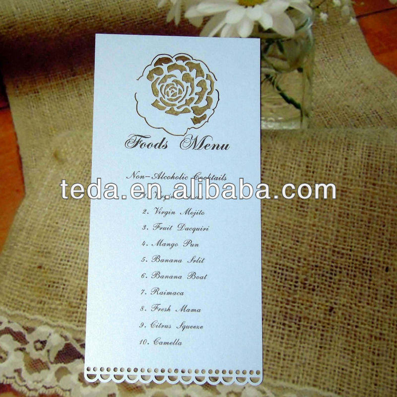 wedding decorations laser cut rose menu card