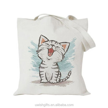 Christmas fashion foldable cotton fabric white canvas customizable shopping custom printed tote bag