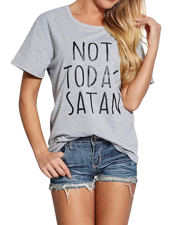 ZXZY Women Cotton Short Sleeves Not Today Satan Letter Print T Shirt Blouse Top