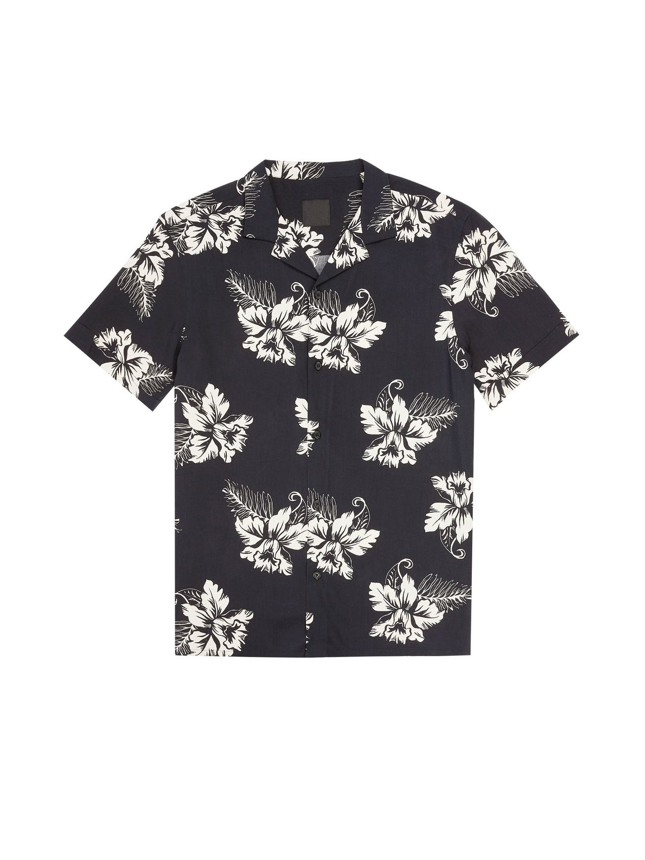 Short Sleeve Black Ecru Orchid Printed button placket Shirt