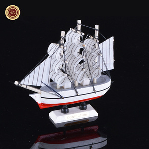 WR Promotion Gift Handmade Sailboats Model Wooden Boat Toy Sailing Ship Decoration For Father Day Gifts