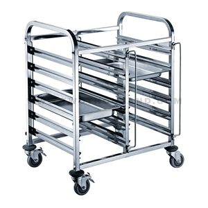 TT-SP279D 6 Trays Stainless Steel Kitchen GN 1/1 Food Pan Rack Trolley
