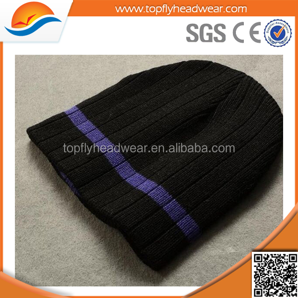 small order accept promotional winter fashion plain custom knitted beanie hat