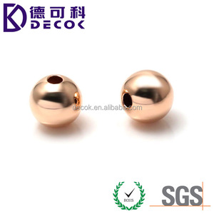 OEM SGS approved bright colorful 6mm 8mm 10mm rose gold plated metal round drilled jewelry beads balls