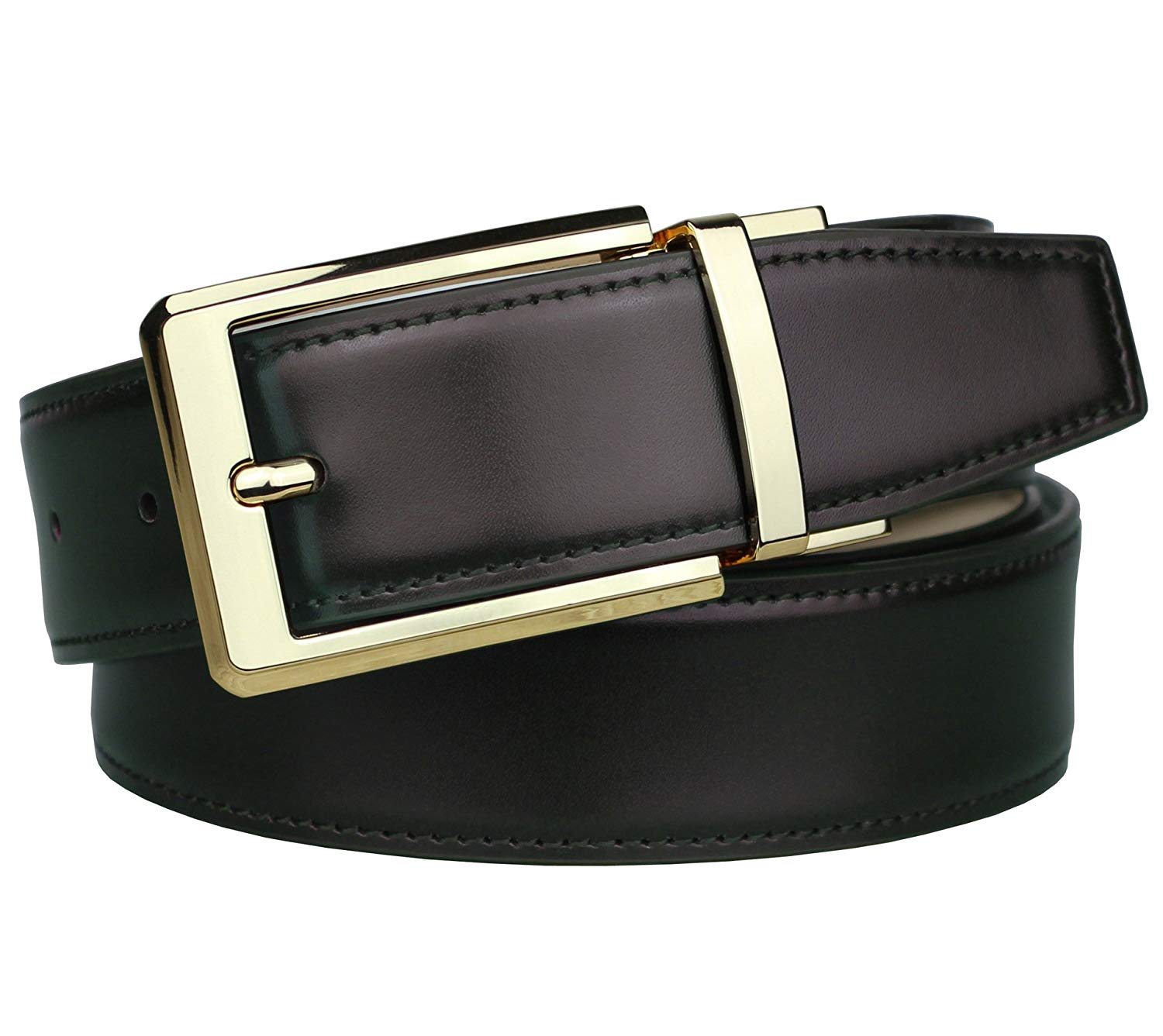 "Bullko Mens Dress Reversible Belt Gold Removable Rotated Buckle 1.25"" Wide"
