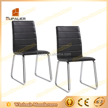 Black leather chair with chrome legs used for office furniture