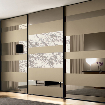 Modern Modular Bedroom Sliding Pvc Glass Door Wardrobe