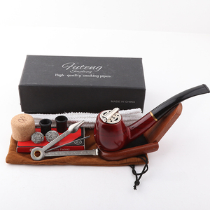Futeng Red wood fancy Pipe Tbacco Set Wooden Wholesale Accessories Wood Smoking Pipe Tobacco