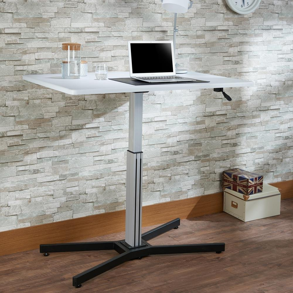 "Major-Q Height Adjustable Sit Stand Writing Table for Living Room/Bedroom/Office, White Top 47"" x 32"" x 31""-43"" H"