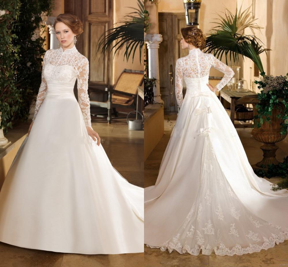 Elegant Long Sleeve Wedding Dresses Muslim Dress 2015: Lace Long Sleeve Muslim Bridal Dress High Neck Elegant