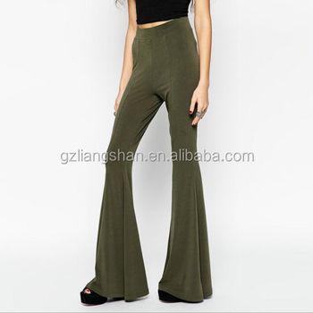 5e6751fda19 Custom Wholesale Women Casual Strech Long Flared Palazzo Pants Boho Hippie Bell  Bottoms