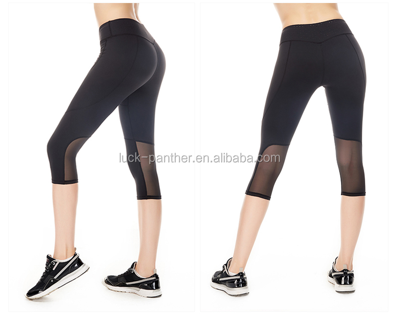 OEM factory panther clothing (Trade Assurance) Black limming Sport leggings with Mesh